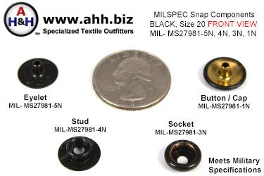 1/2 inch Snap Components (Size 20 mini) Blackened Brass, Mil