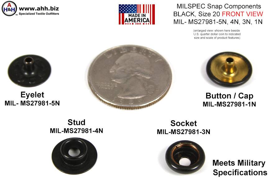 1/2 inch Snap Components (Size 20 mini) Blackened Brass, Mil-Spec