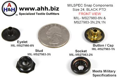 5/8 inch Snap Components (size 24 Standard) Blackened Brass, Pull The Dot type (PTD) Mil-Spec MIL-MS27983-3N, 2N, 1N and MIL-MS27980-8N