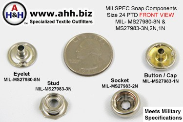 5/8 inch Snap Components (size 24 Standard) Nickel Plated Brass, Pull The Dot type (PTD) Mil-Spec MIL-MS27983-3N, 2N, 1N and MIL-MS27980-8N