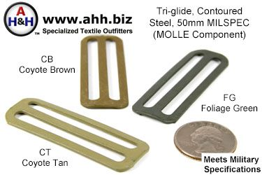 2 inch Tri-Glides, Steel, Contoured, Mil-Spec MOLLE Component