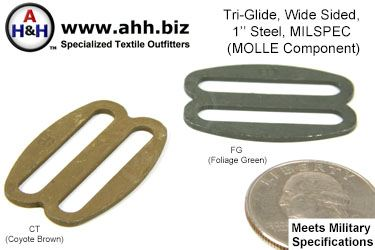 1 inch Wide Sided Steel Tri-Glides, Mil-Spec MOLLE Component