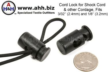 Cord Lock fits 3/3 inch (2.4mm) - 1/8 inch (3.2mm) Shock Cord