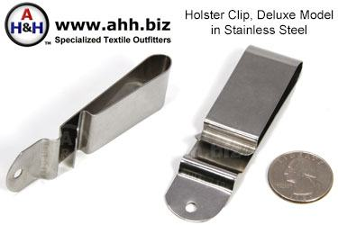 Holster Clip, Deluxe, Stainless Steel