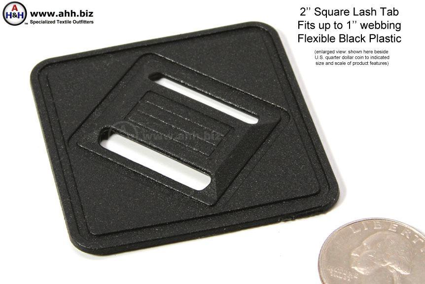 Lash Tab For Luggage 2 Inch Square Black Plastic