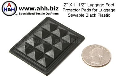 Luggage Feet Protector Pads - sewable black plastic 2 inch X 1 1/2 inch
