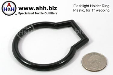 Flashlight Holder Ring, Black Plastic, for 1 inch Webbing