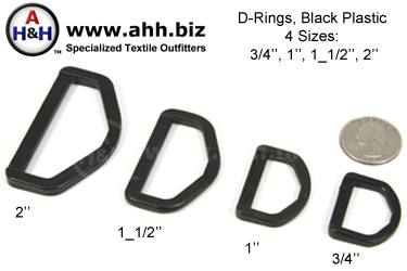 Regular D-Rings, High Strength Black Plastic, 4 sizes 3/4″, 1″, 1_1/2″, 2″