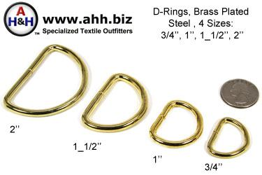 Brass Plated Steel D-Rings, 4 sizes 3/4 inch, 1 inch, 1 1/2 inch, 2 inch