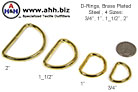 Brass Plated Steel D-rings in 4 sizes for 3/4'' through 2'' webbing
