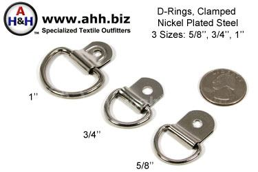 Clamped Nickel Plated D-rings, 3 sizes