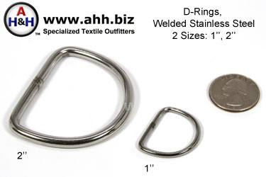 Welded Stainless Steel D-rings - two sizes: 1 inch and 2 inch