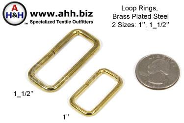 Loop Rings, Rectangle shaped rings for Straps, Brass Plated Steel, two sizes 1 inch and 1 1/2 inch