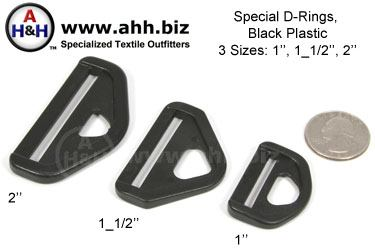 Special D-Rings, High Strength Black Plastic, 3 sizes 1″, 1_1/2″, 2″