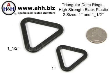 Triangular Delta Rings, High Strength Black Plastic, two sizes 1 inch (25mm), 1 1/2 inch (38mm)