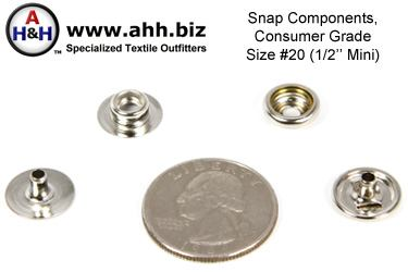 1/2″ Snap Components (1/2 inch Mini Size) Consumer Grade, Box of 100 sets
