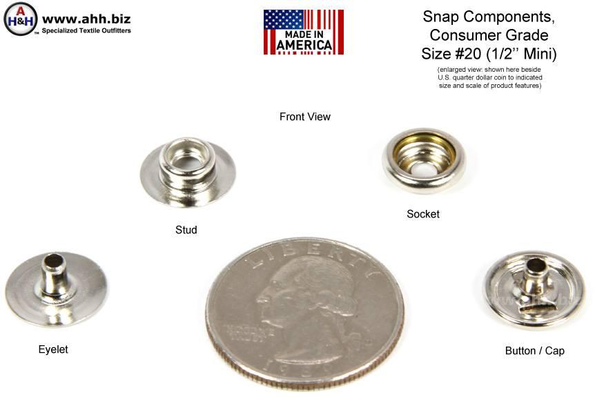 1 2 Inch Snap Fastener Components Consumer Grade