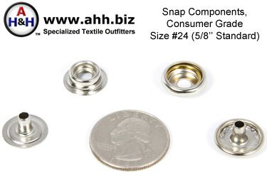 5/8″ Snap Components 5/8 inch size 24 (Standard) Consumer Grade, Box of 100 sets