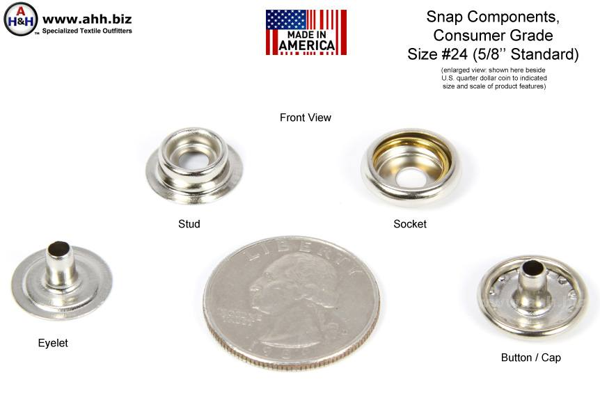 5 8 Inch Snap Fastener Components Size 24 Standard