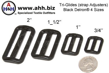 Tri-Glide (strap Adjusters), Black Plastic in 4 sizes