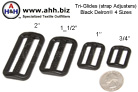 Tri-Glide - Delrin Plastic, Black - 4 sizes - Tri-glides are used to adjust webbing straps