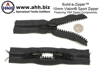 Build-a-Zipper™ YKK® 10mm Vislon® Sport - NO End Stops
