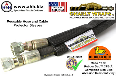Gnarly Wraps™ Hose and Cable protector Sleeves - Made in America from Rubber Duc™ Abrasion Resistant, CPSIA Compliant Vinyl