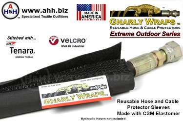 Gnarly Wraps™ Extreme Outdoor - Reusable Hose & Cable protector Sleeves - Made in America from CSM Elastomer (Hypalon®)