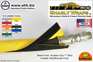 Gnarly Wraps™ Hose & Cable Protector Sleeves - made from Rubber Duc™ Vinyl - 9 colors