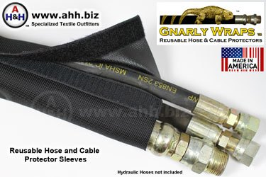 Hose and Cable Protector Sleeve, 1050 Ballistic Nylon, Made in USA by Gnarly Wraps™ Industrial Products
