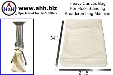 Canvas Bag for floor standing Breadcrumbing Machine