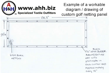 Example of Diagram for Custom Indoor Golf Simulator Netting Fabrication Service