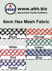 6mm Nylon Hex-Mesh Fabric: is available in these colors