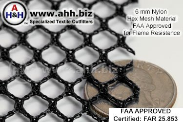 6mm Nylon Hex-Mesh Fabric FAA approved FAR 25.853