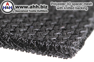 Polyester 3D spacer mesh with knitted backing