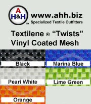 "Textilene® ""Twists"" Designer Outdoor Vinyl Mesh is available in these colors"
