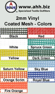 2mm Vinyl Coated Polyester Mesh is available in these colors