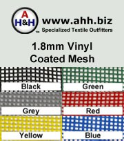 1.8mm Vinyl Coated Plain Polyester Mesh: is available in these colors