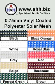 0.75mm Vinyl Coated Polyester Solar Mesh is available in these colors