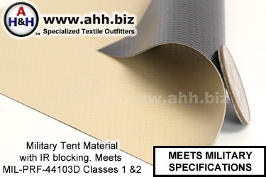 Military Tent Vinyl Material With IR Blocking Mil-Spec MIL-PRF-44103D Classes 1, 2