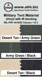 Military Tent Material (Vinyl) with IR Blocking Capabilities is available in these colors