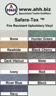 Safara-Tex™ Fire Resistant Upholstery Vinyl Fabric: is available in these colors