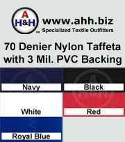 70 Denier Nylon Taffeta Fabric with 3 Mil. PVC Vinyl Backing: is available in these colors
