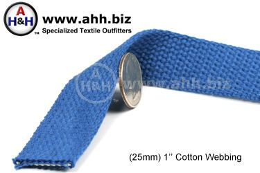 1″ Cotton Webbing for making cotton straps, belts and accessories - Renewable Resource Green Textile