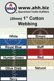 1″ Cotton Webbing for making cotton straps, belts and accessories - Renewable Resource Green Textile is available in these colors
