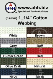 1_1/4″ Cotton Webbing - for cotton straps and cotton belts - Renewable Resource Green Textile is available in these colors