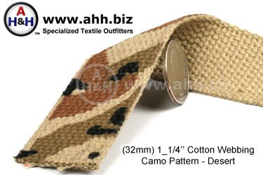 1 1/4 inch Cotton Webbing Desert Camo Tan