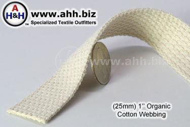 1″ Organic Cotton Webbing, Unbleached, Undyed