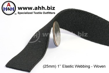 1  inches Flat Woven Elastic Webbing - Black