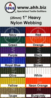 1″ Nylon Webbing - Heavy: is available in these colors